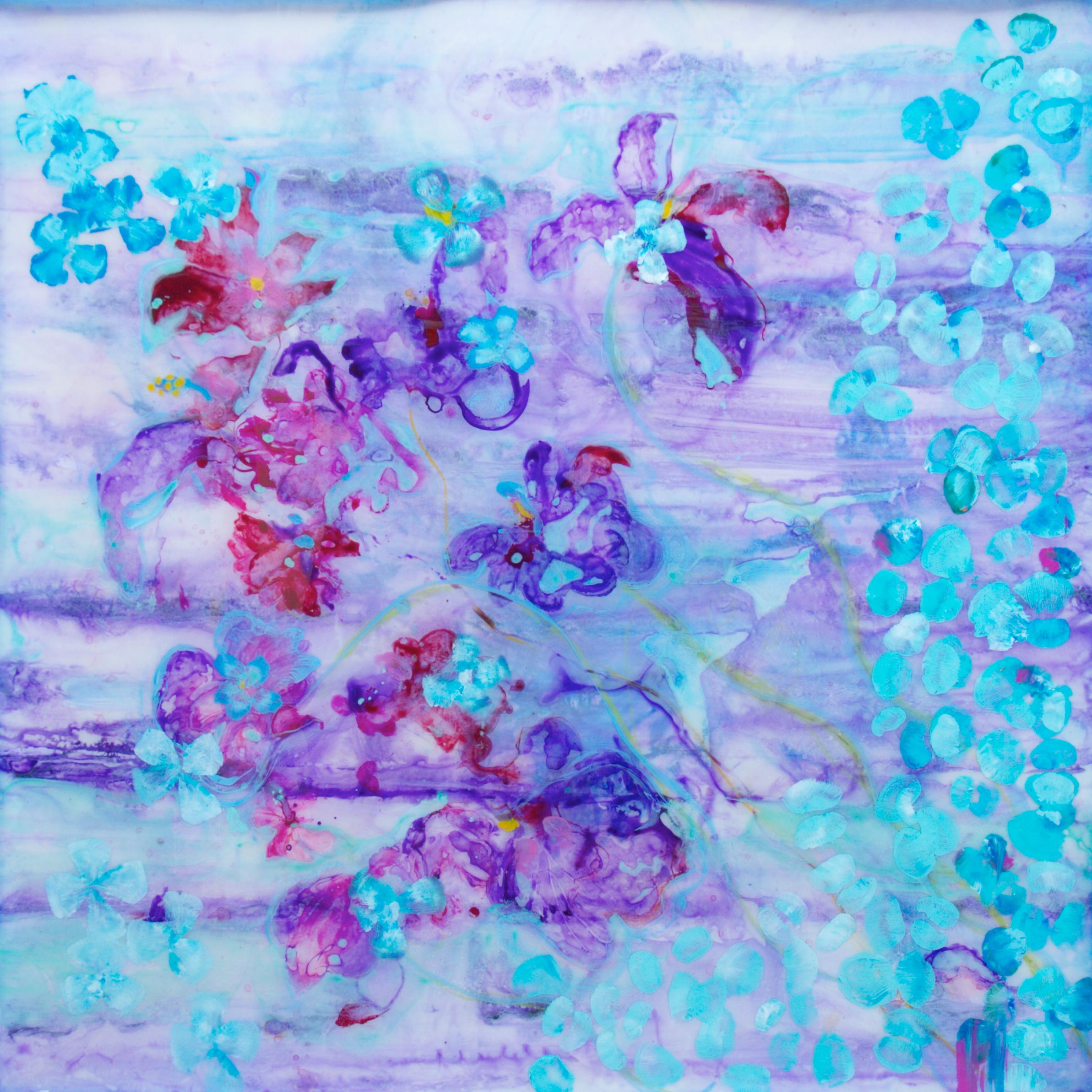 """PetaLUNA""   40 x 40 "" acrylic & resin on canvas   - SOLD"