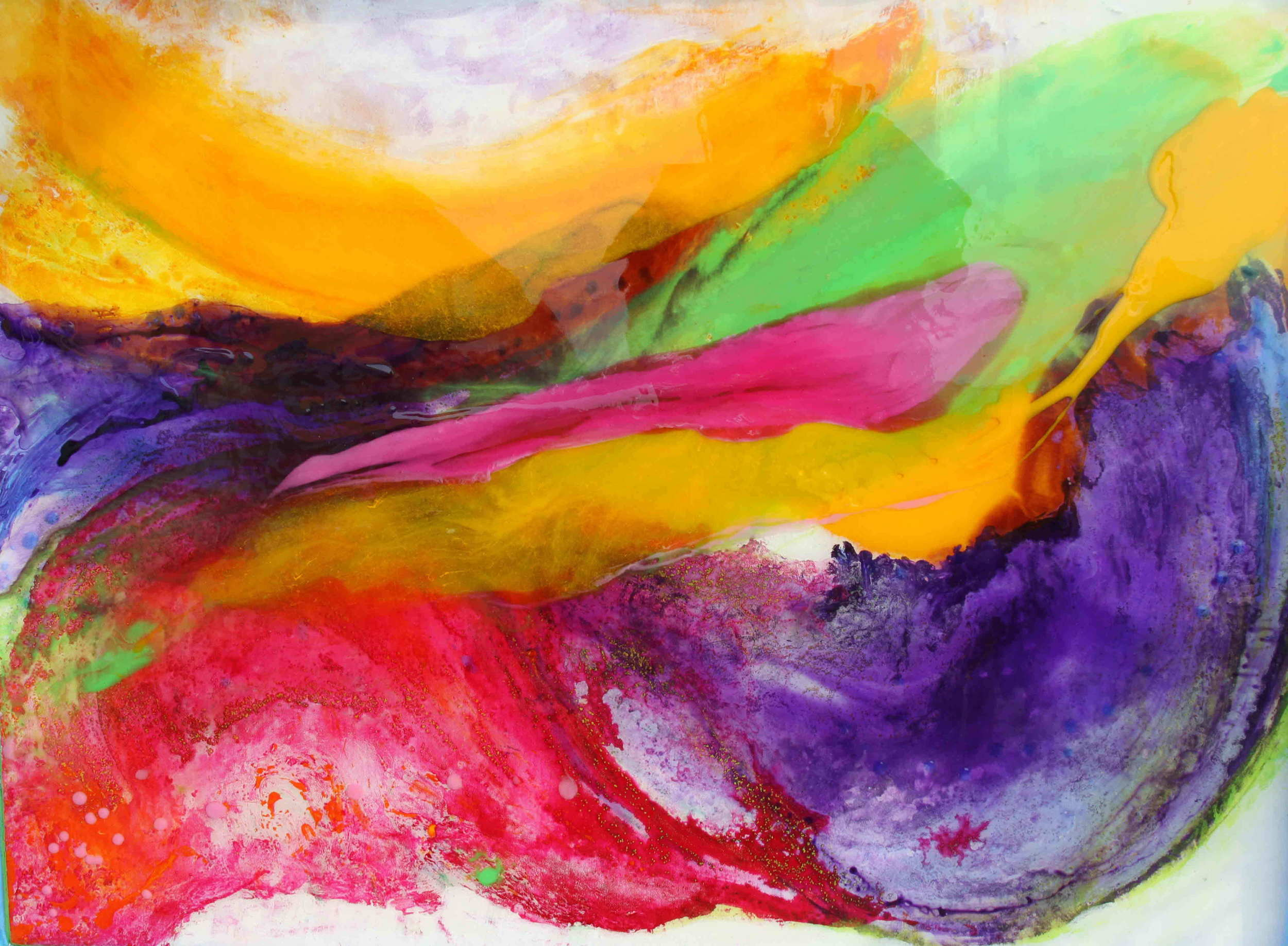 """Purple Surf""    30 x 40"" acrylic & resin, framed   - SOLD"