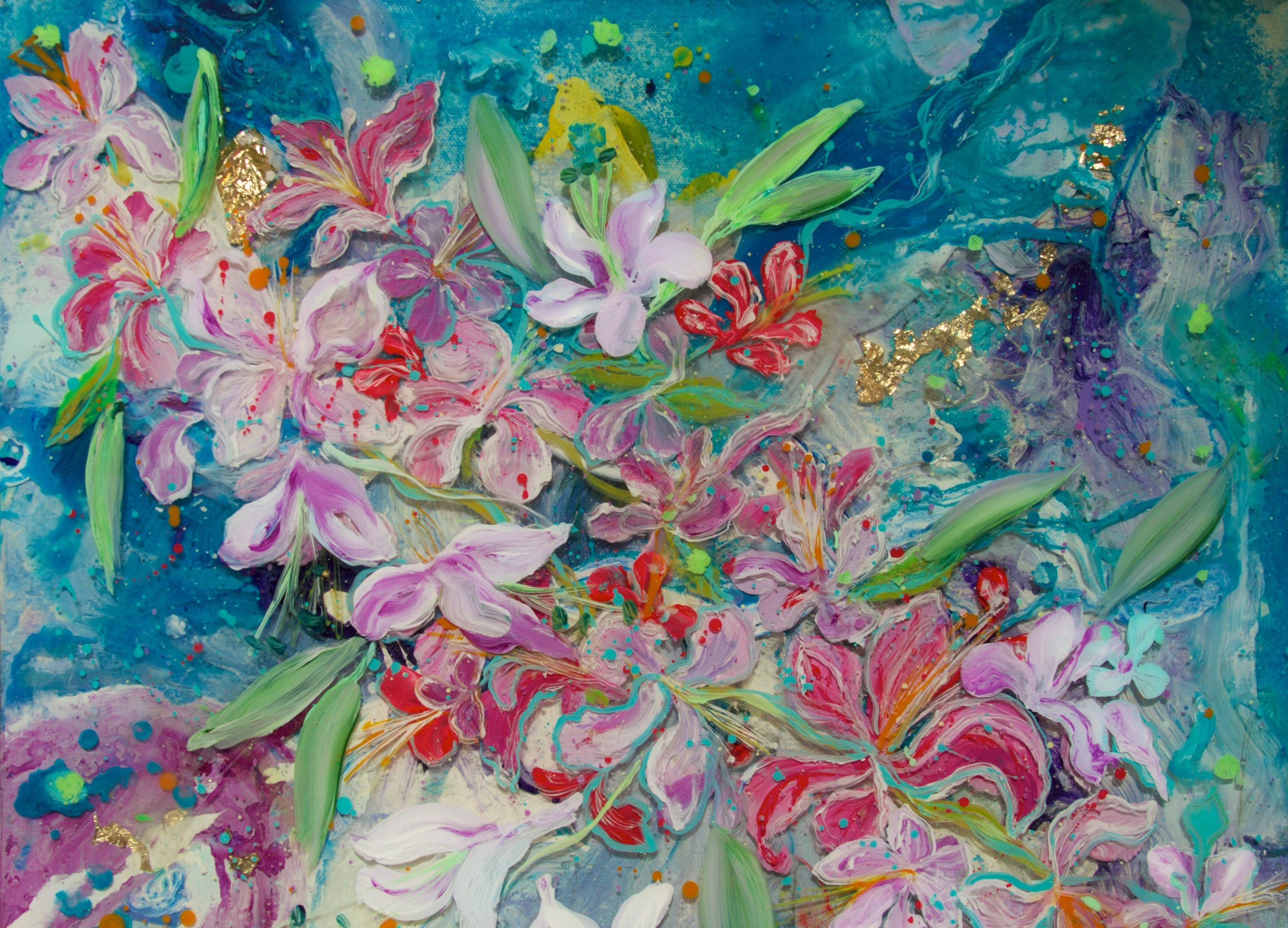 """""""Orchid Tree""""       17 x 20  acrylic & resin on board   - SOLD"""