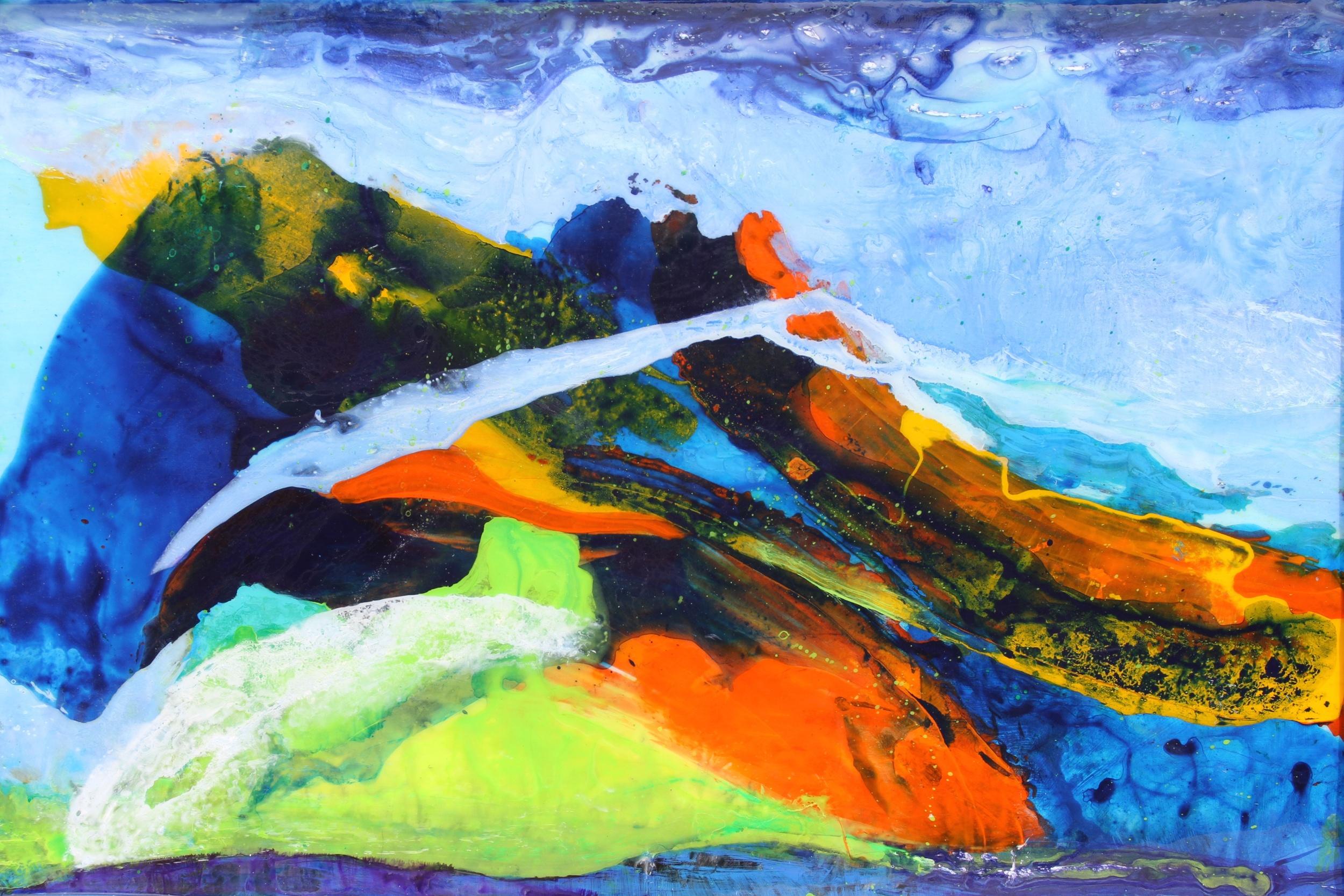 """""""Blue Mountain""""                   24"""" x 36""""  acrylic & resin on canvas, framed"""