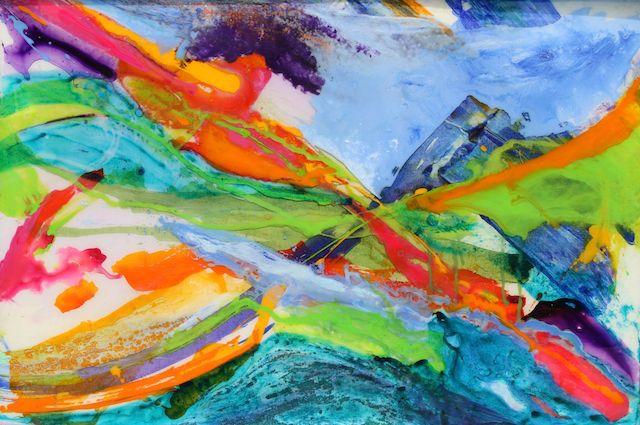 """Mystic Mountain""              24"" x 36""  acrylic & resin on canvas, framed  -  SOLD"