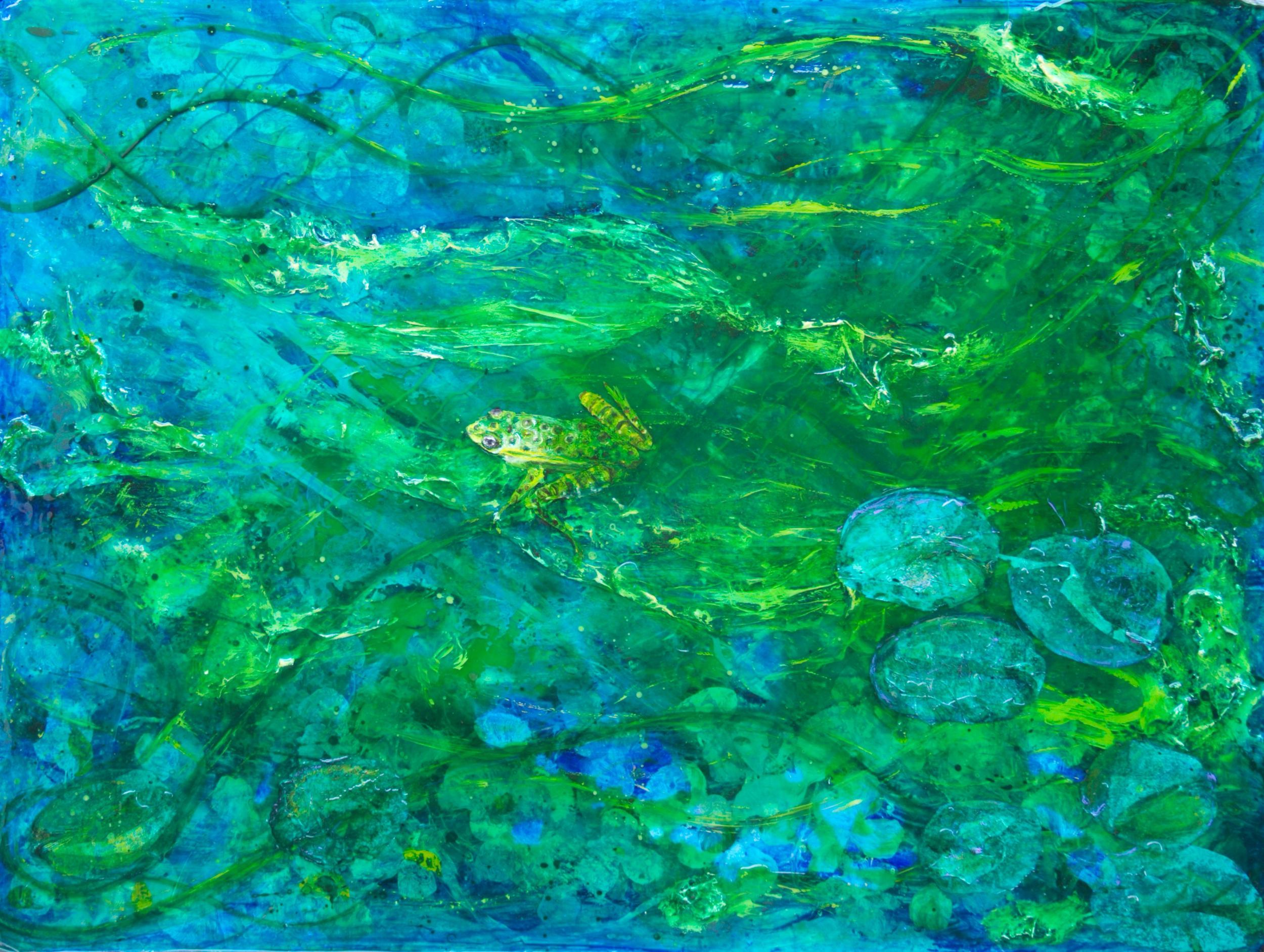 """""""Frog Pond""""       24"""" x 36"""" acrylic & resin on canvas --    - SOLD"""