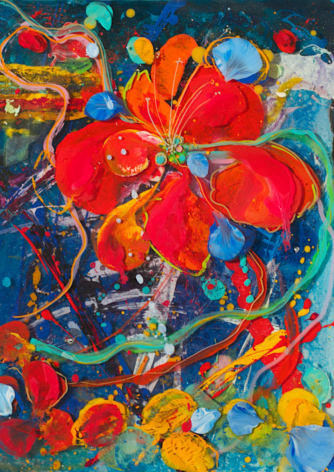 """""""Red HibiscuS""""   12"""" x 16"""" acrylic & resin on board, framed-   SOLD"""