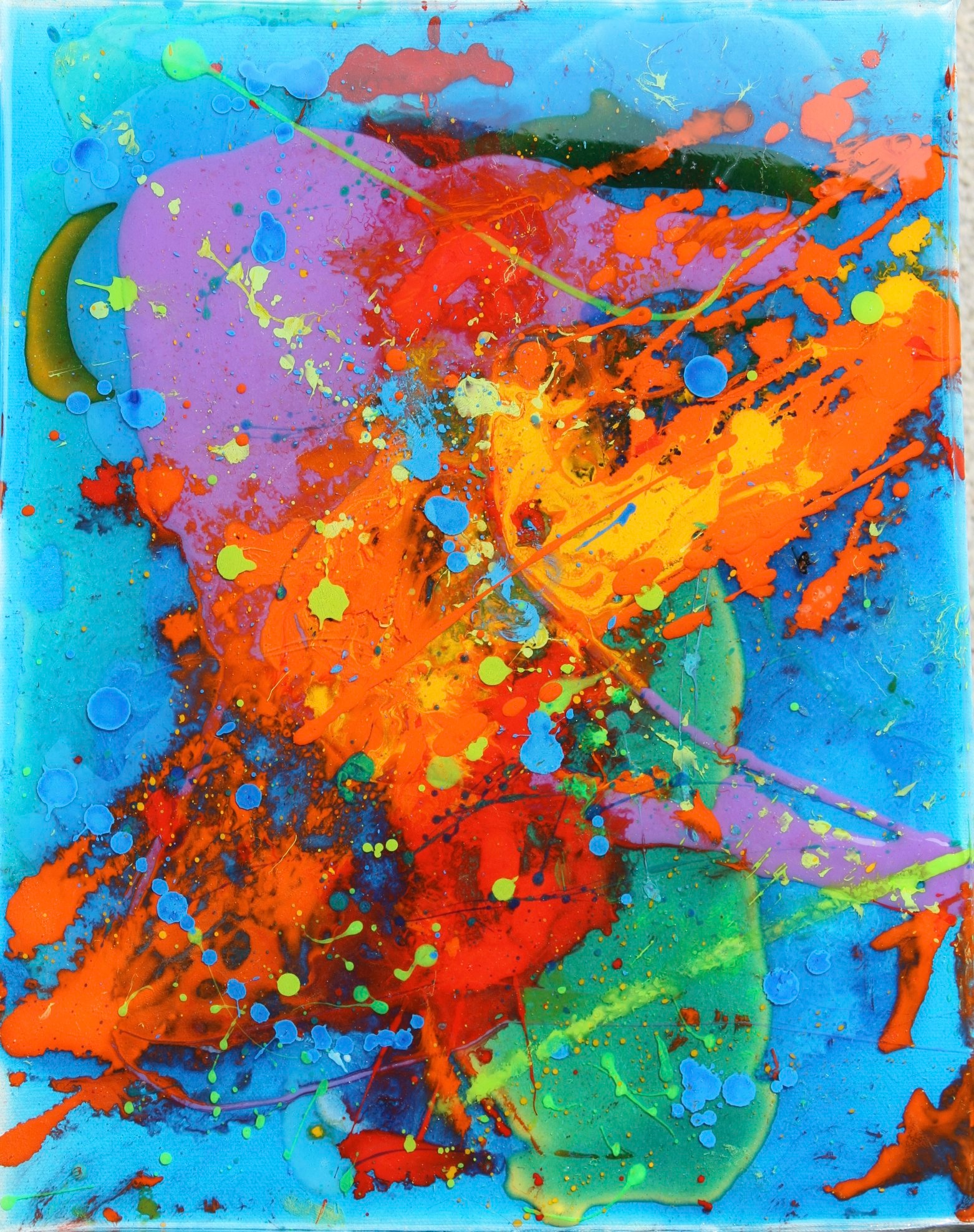 """""""Cosmos""""               15"""" x 20"""" acrylic and resin     - sold"""