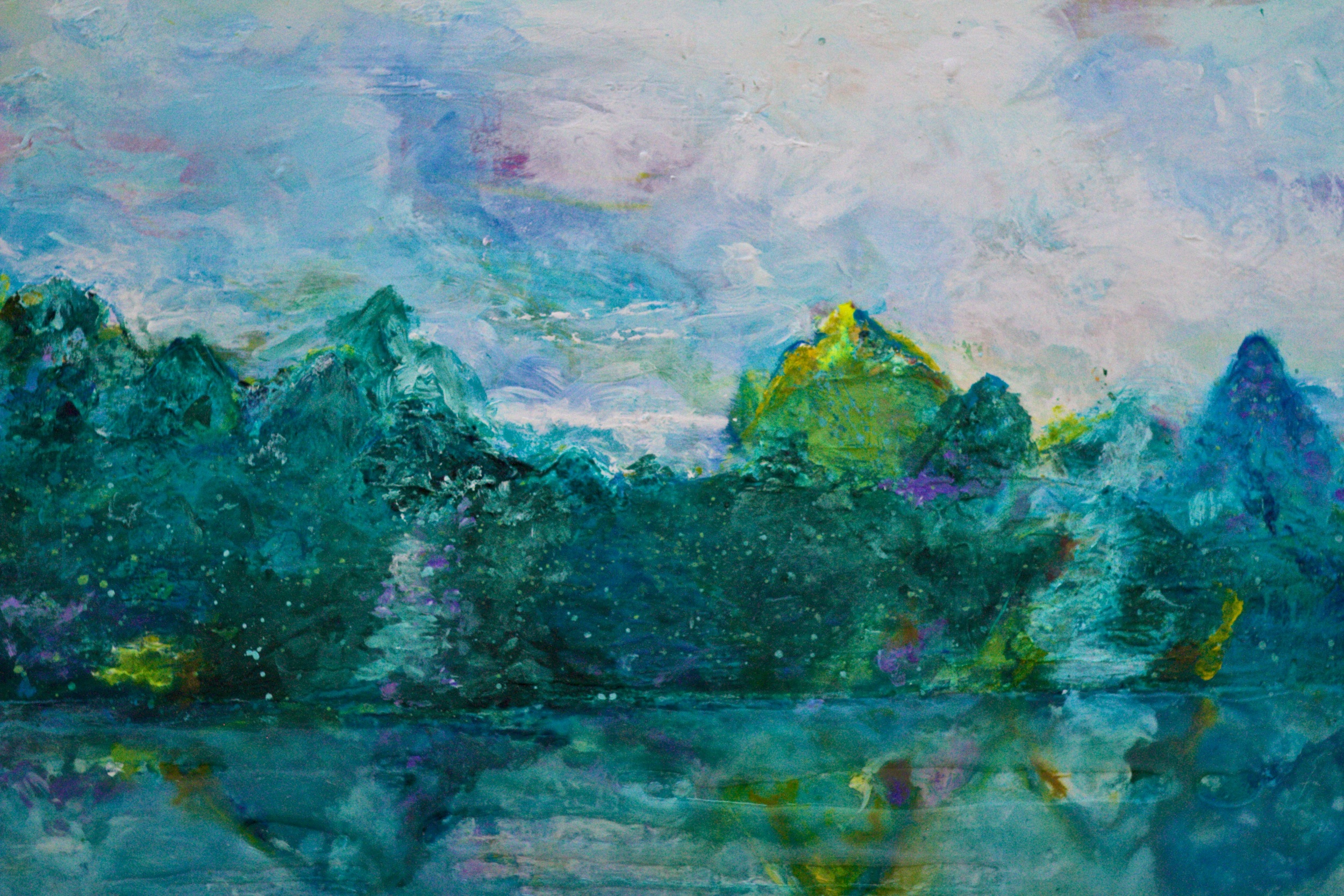 """""""deep water bay""""   diptych- 48"""" x 96"""" acrylic and resin"""