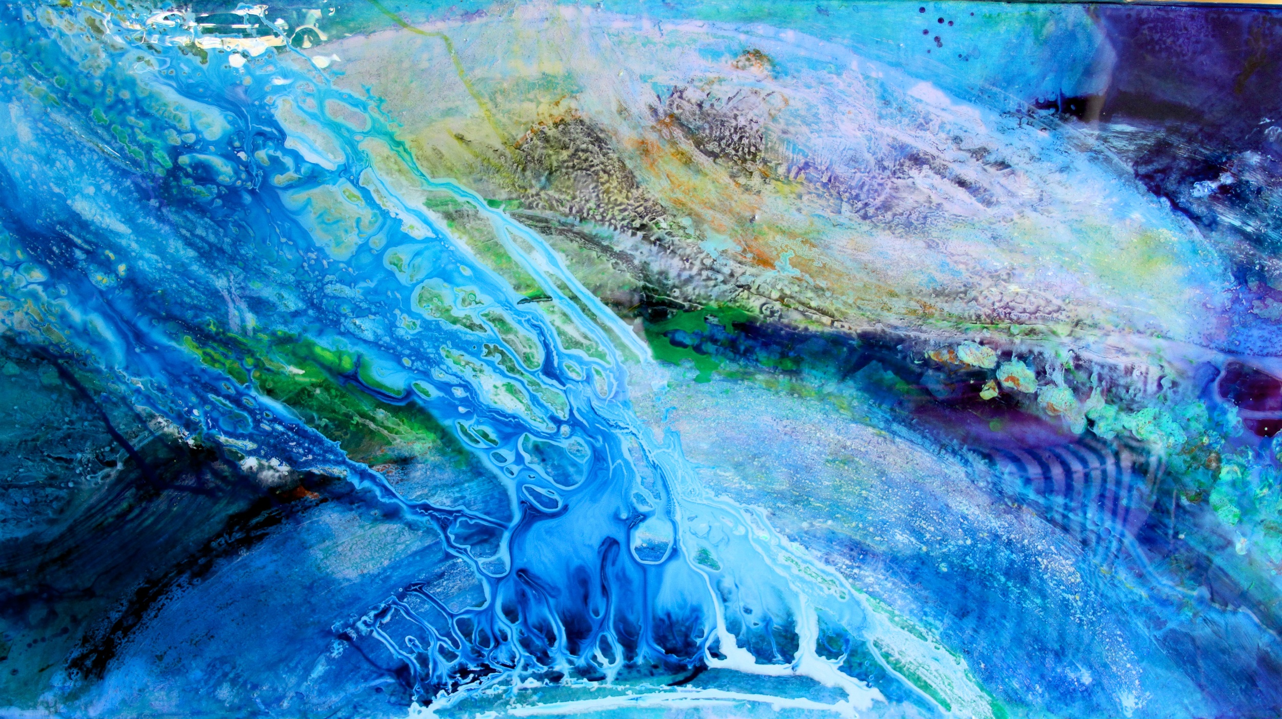 """""""leviathan""""   36"""" x 48"""" acrylic and resin  - sold"""