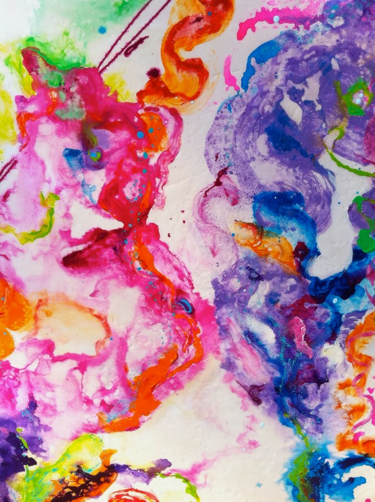 """""""spring fling""""   24"""" x 36"""" acrylic and resin  - sold"""