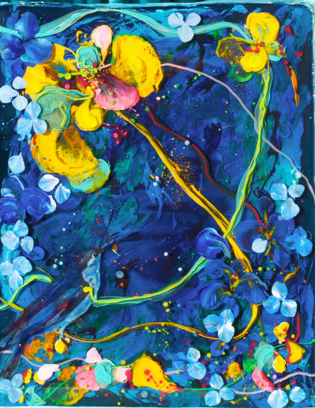 """""""bluebird and yellow orchid""""    16"""" x 20""""  acrylic & resin on canvas, framed-  - sold"""
