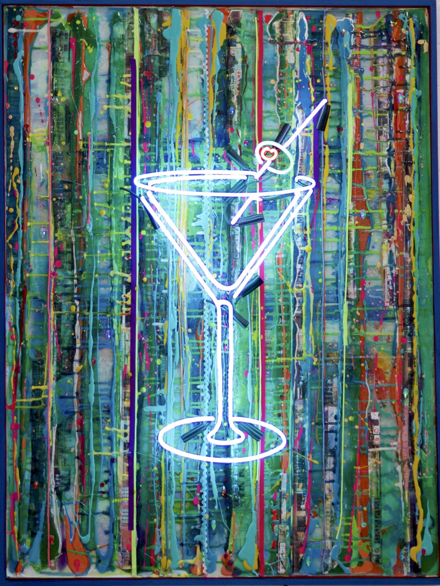 """BLUETINI""    30"" x 40"" acrylic, resin, mixed media, neon"