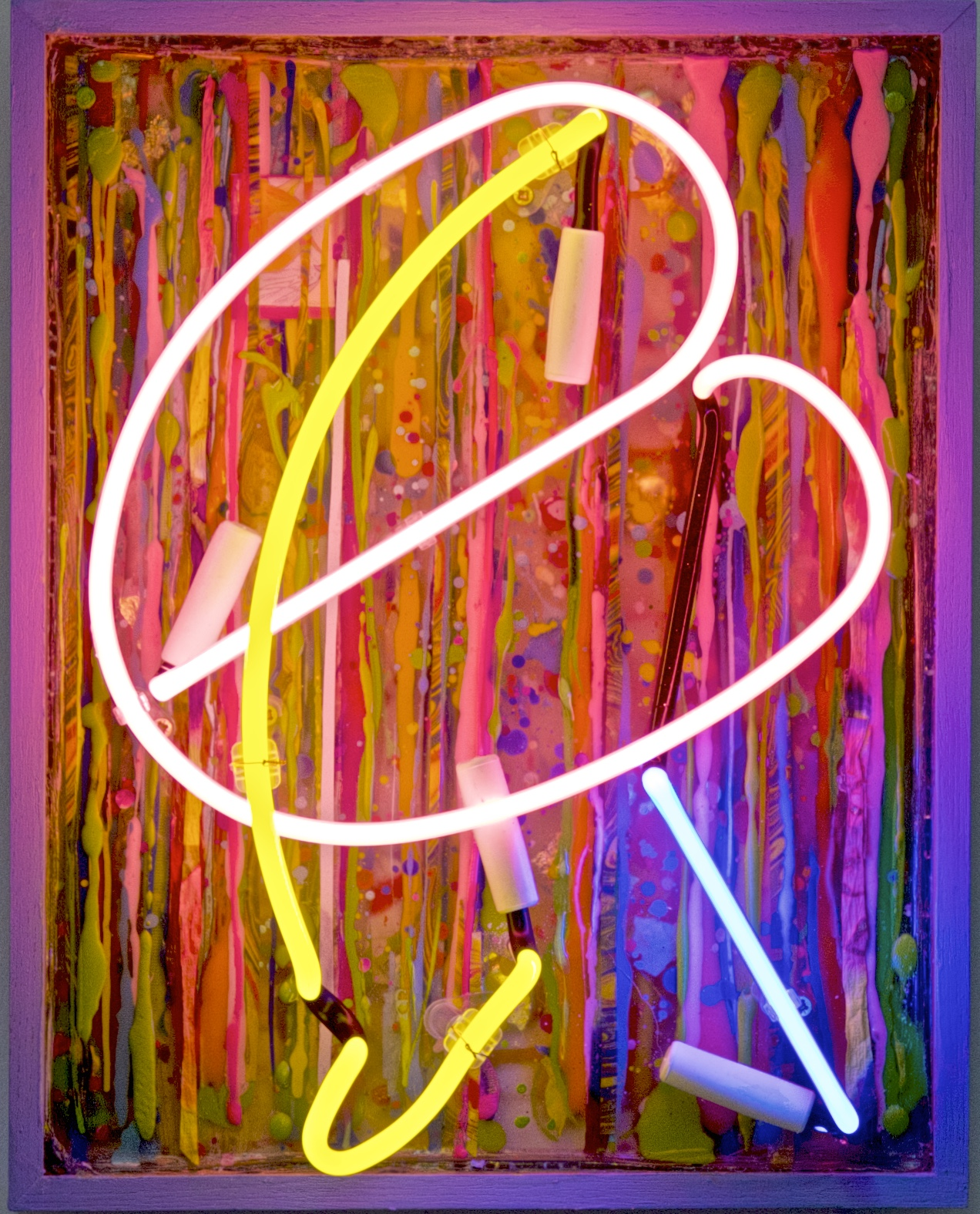 """PINK BEAN""  17"" x 14"" acrylic, resin, neon"
