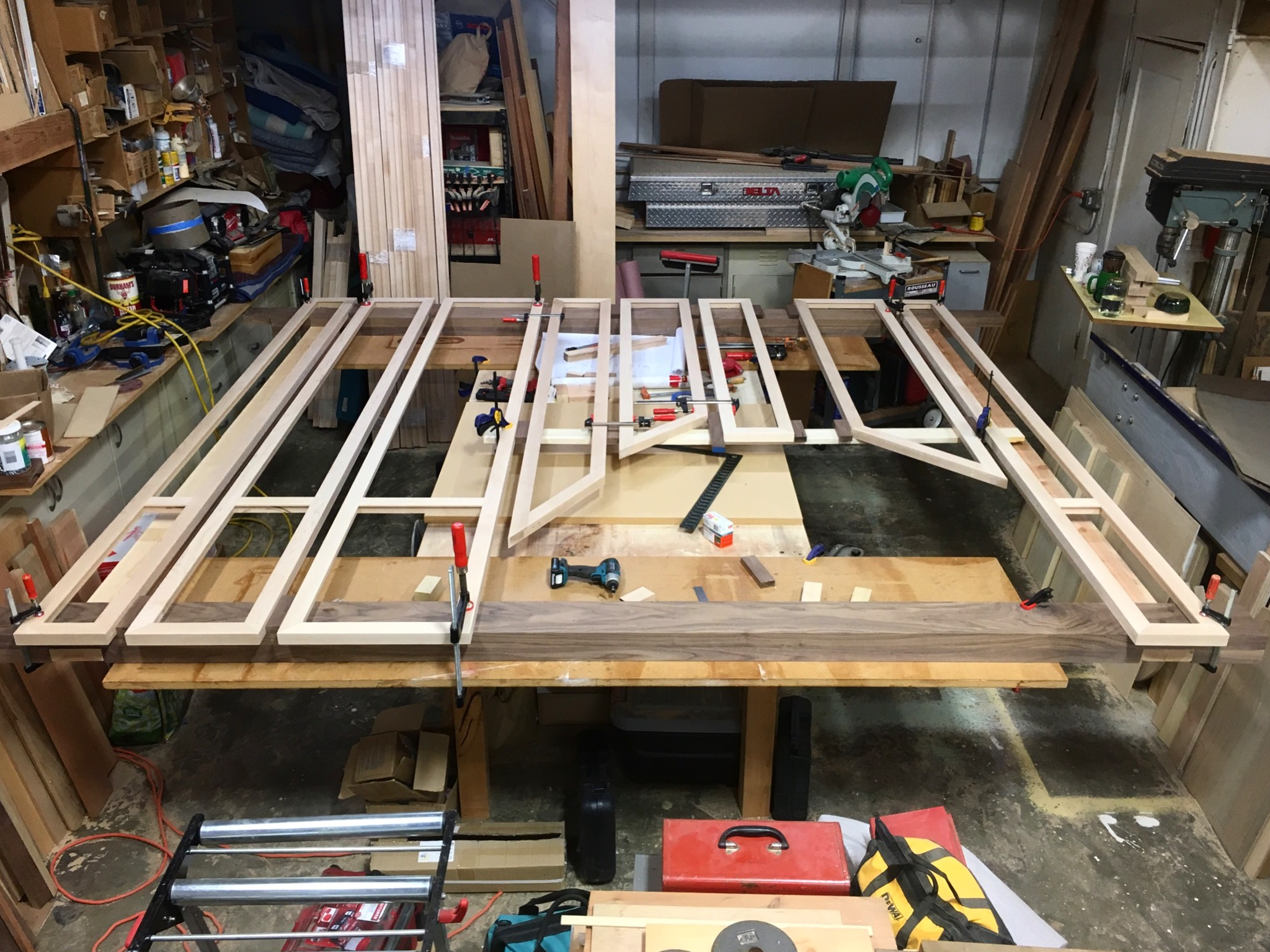 The frames and superstructure, preassembled in James's shop, several weeks before installation. (2016)