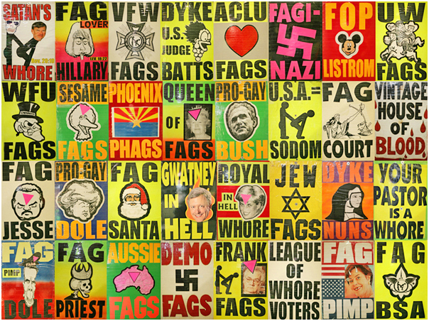 Digital collage of some of my favorite WBC signs I photographed. 2008.