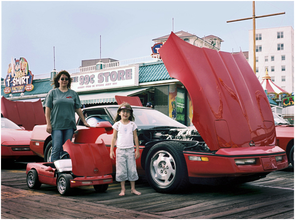 Mother and daughter at classic Corvette show. Ocean City NJ 2005.