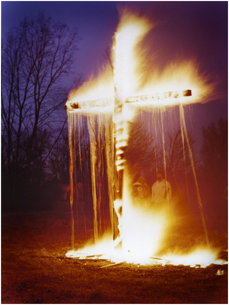 KKK Cross lighting ceremony. Osceola, IN. 2004.