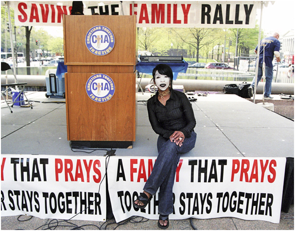 Woman as the Holy Ghost at a saving the family rally. Washington, DC. 2008.