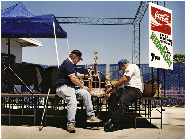 Men assembling trophies. Keansburg, NJ 2005.