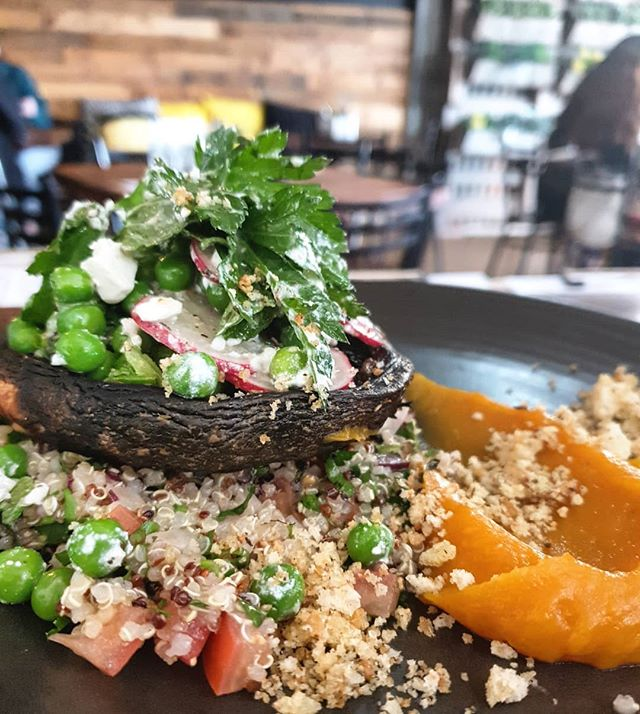 Our vegan friendly roasted field mushrooms with quinoa tabouli, butternut puree, smoked hazelnut , radish and green pea salad