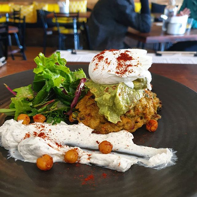 Seasoned avocado, potato cakes, roasted chickpeas and sumac labneh topped with a perfect poachie