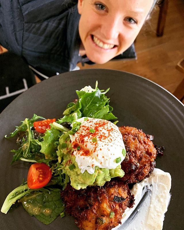 somebody looks a little bit delighted with our new smashed avo dish 🙏🥑 potato cakes, roasted chickpeas, sumac labneh & the perfect poachy 💁🏼‍♀️ d e l i c i o u s 👌🏼 come and try the avocado delight - one of the stand outs on our new winter menu 💗 • • • #smashedavocado #smashedavo #eirecafe #adelaidecafe #food #breakfast #brunch #cafe #adelaidefood #adelaidebrunch #mitcham #yum #coffee #adelaidecoffee