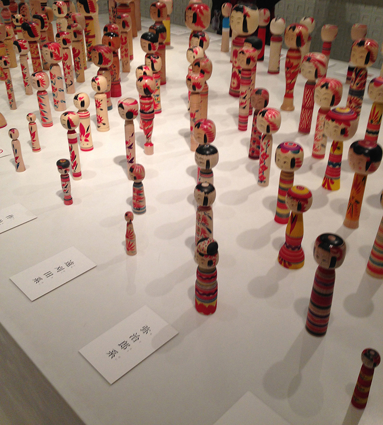 An exhibition of Kokeshi at Toraya, MidTown Plaza, Tokyo.