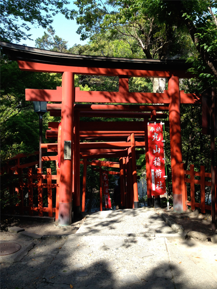 Stacked Torii on higher ground at the Tsurugaoka Hachimangu Shrine in Kamakura.