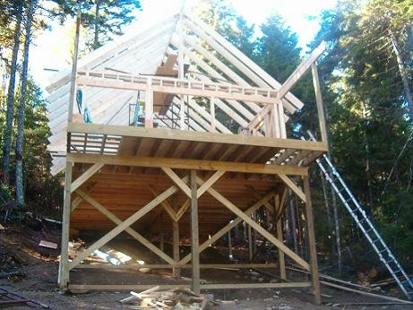Puzzlewood original design cottage with seven foot cantilevered deck