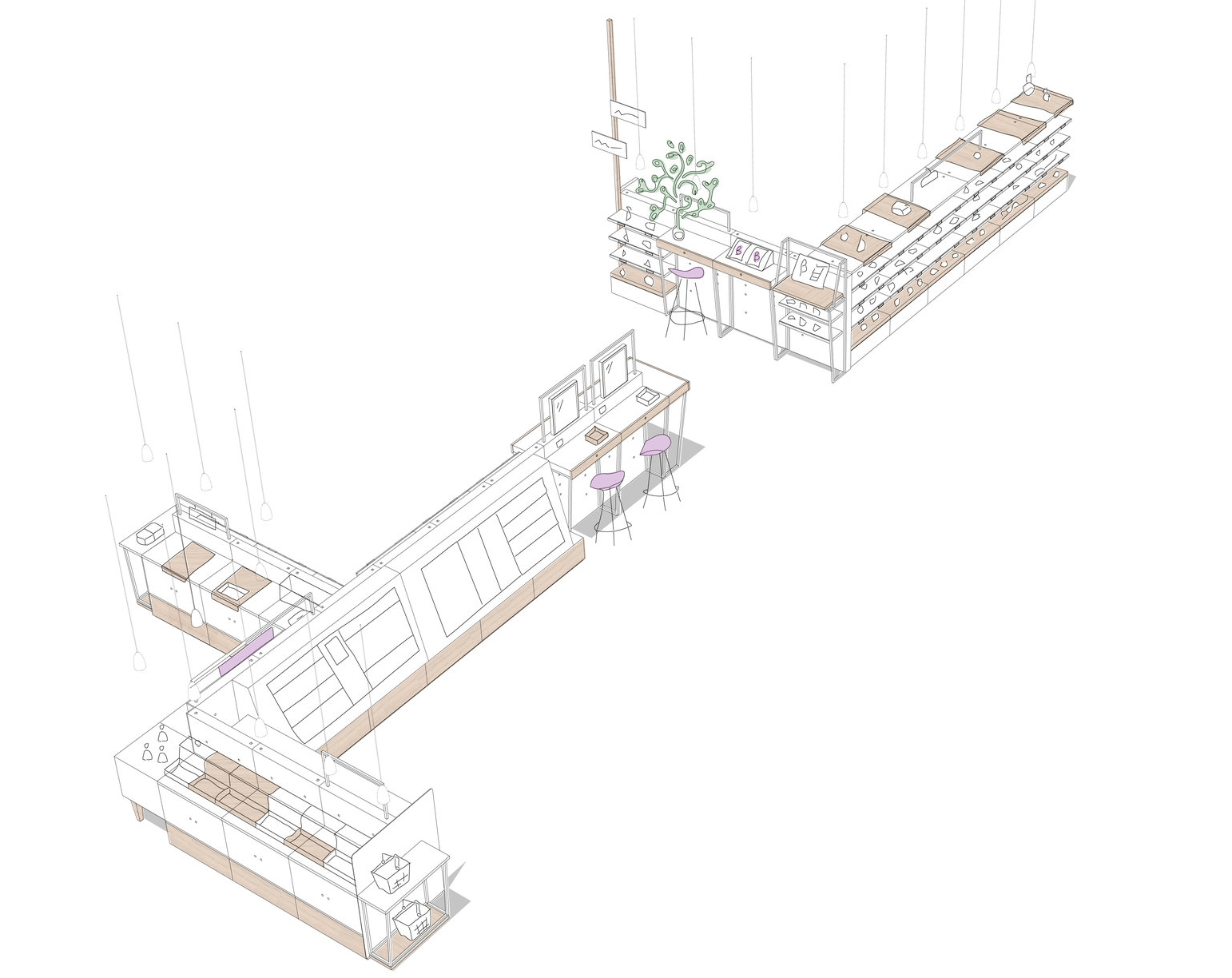 We design the furniture - The central furniture defines a guided tour, where each area of beauty will have its support area: make up bar, digital area, skincare washbasin...This is the core of the store.