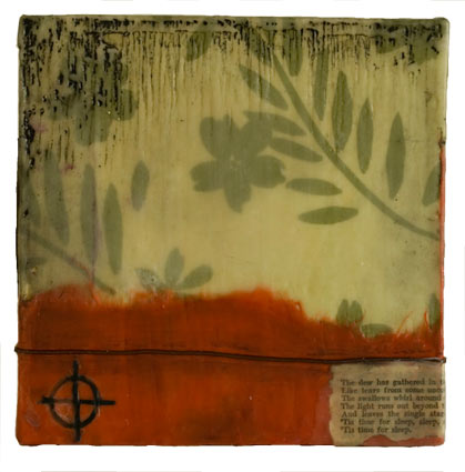 """The dew has gathered…"" encaustic, mixed media on wood panel. 6x6""   SOLD"