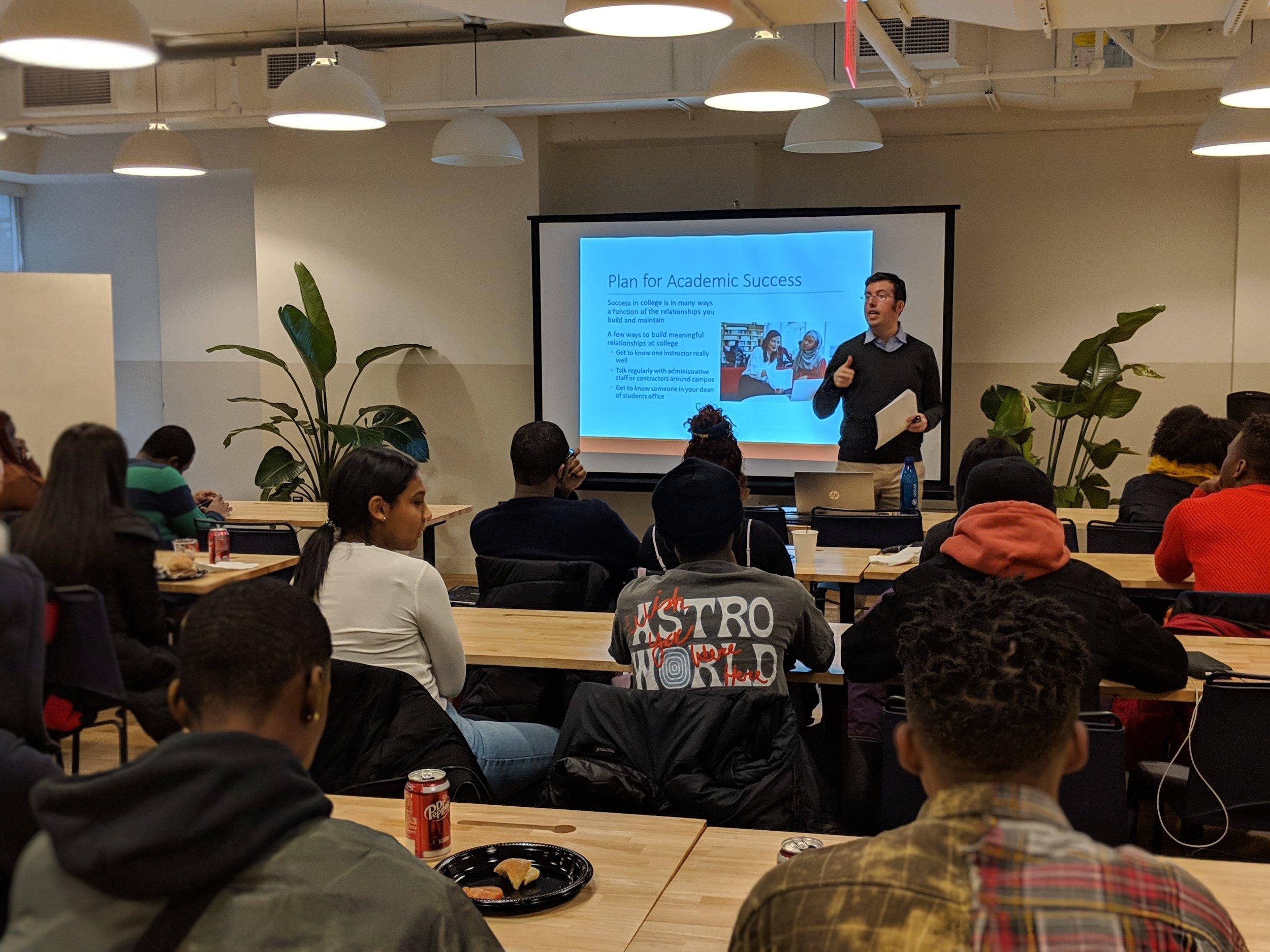 Dr. Jonathan Lewis leads a Nexus Workshop on College Success for recent NYC Public School Graduates