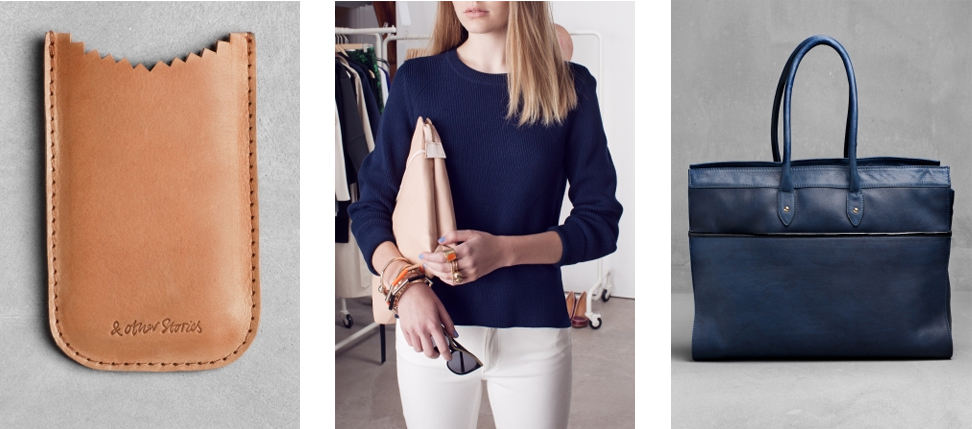 13.  Leather Phone pouch  / 14.  Navy Crop Sweater  / 15.  Navy Tote