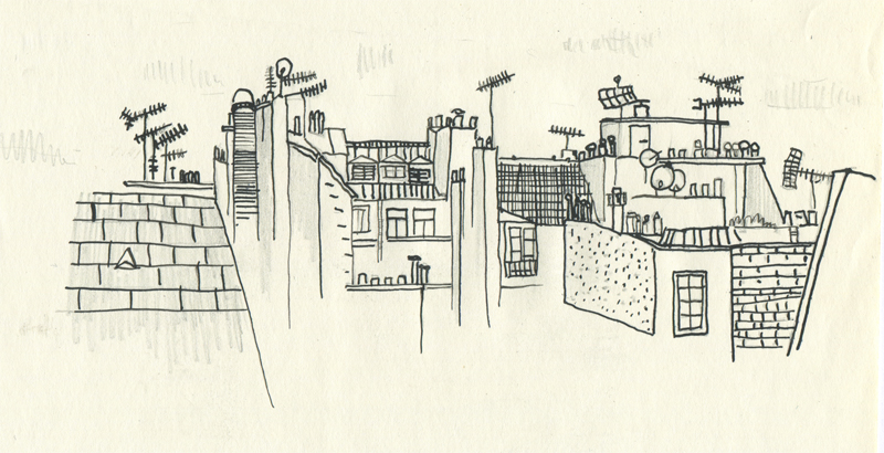 Paris rooftop, Ink on Paper, 2012//Les Toits de Paris, Encre sur papier, 2012