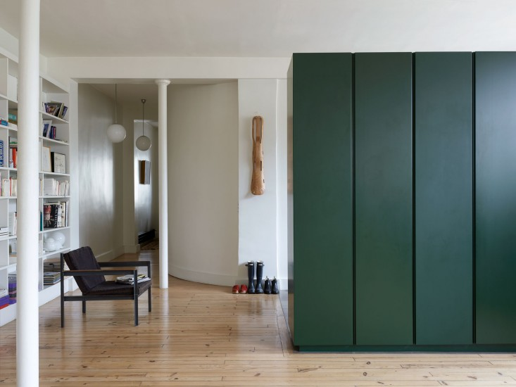 That green on the doors of the cupboard. Apartment makeover by  Regis Larroque