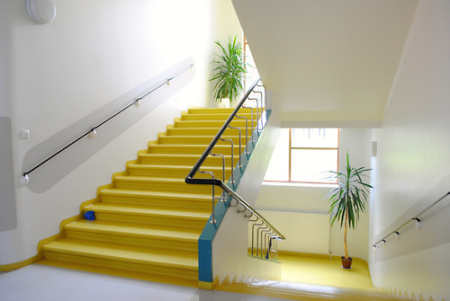 Yellow staircase by Jonathan Rieke (apparently, because I found this on  Le Joli Collar )