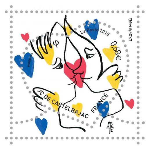 [[ Valentine's day post stamp design by Jean-Charles de Castelbajac///  Illustration de Jean-Charles de Castelbajac pour les timbres de la Saint-Valentin ]]