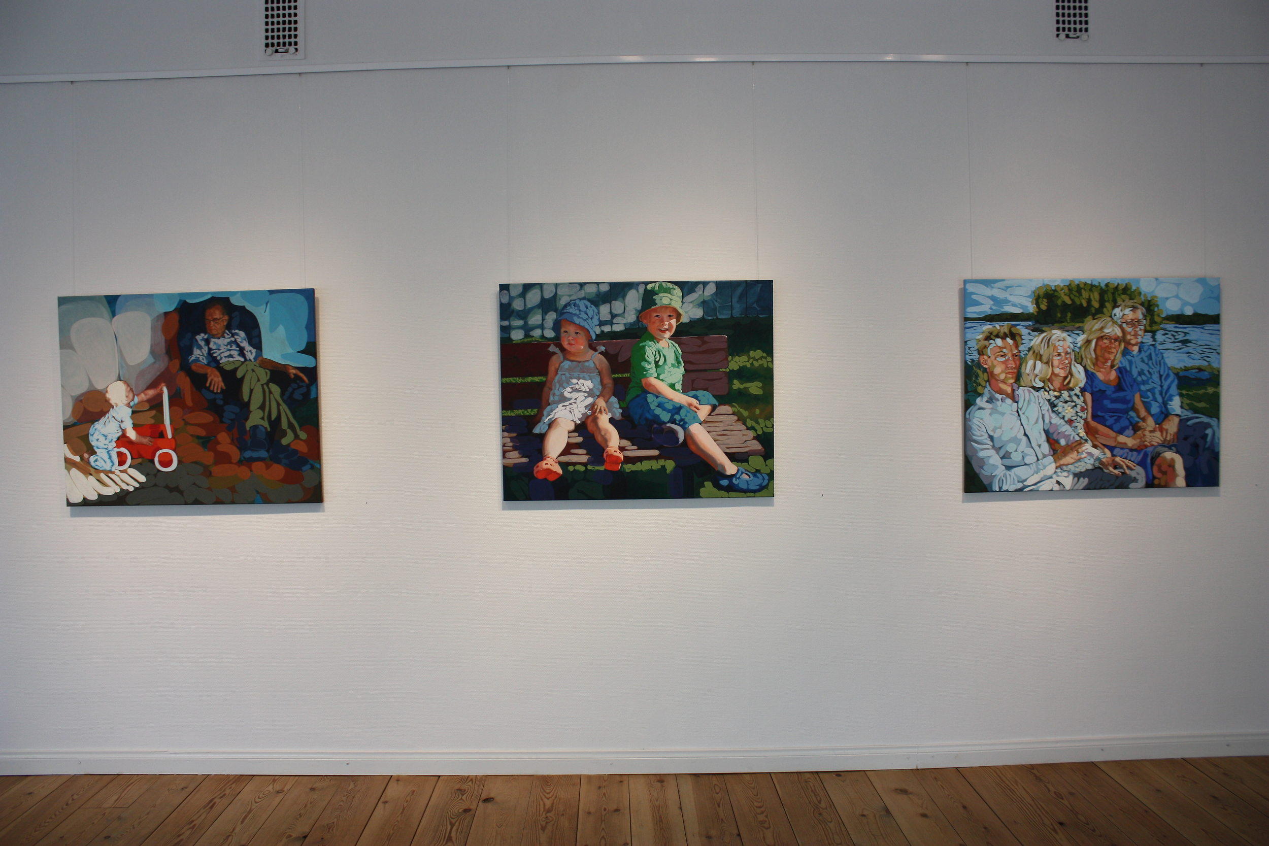 "From left:  ""Vaarin poika"", ""Summer Bench"" and ""Family Study in Blue"""