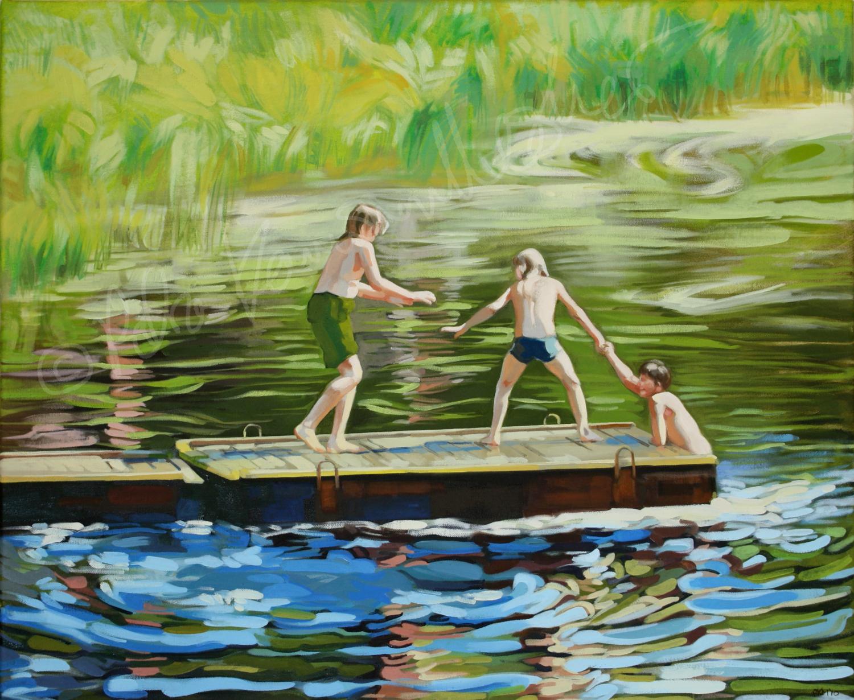 Kolme poikaa joen rannalla