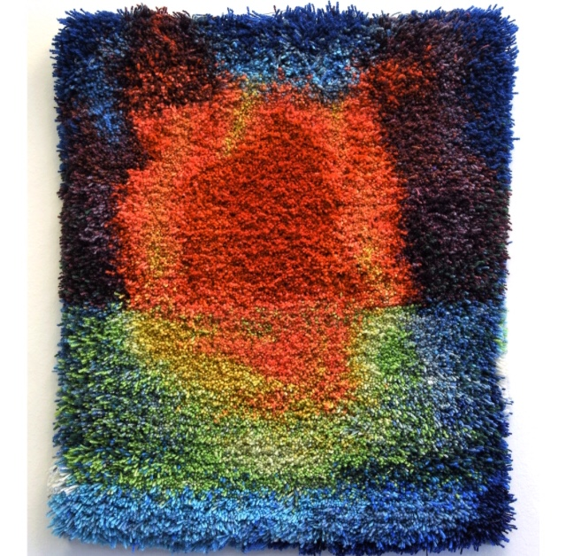 """Taideryijy / Art tapestry """"Revisiting the Past (Old Bonfire)"""" dyed wool yarn and cotton thread, 64 x 54 cm, 2019"""