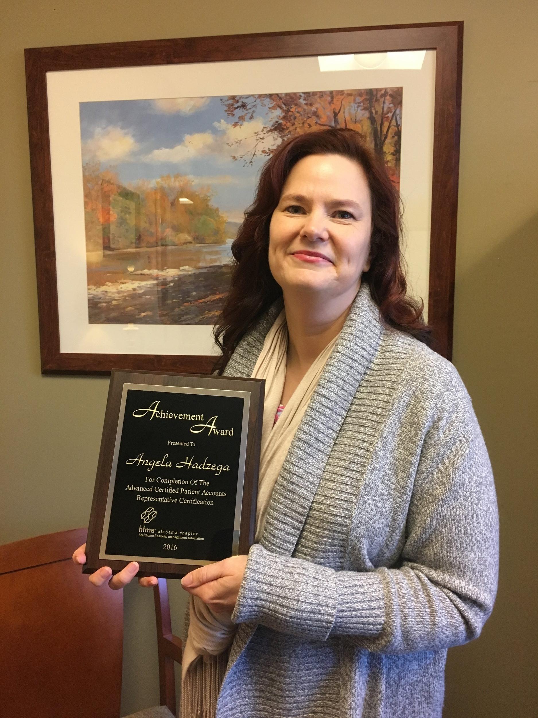 Angela Shelton, CFO at Jack Hughston Memorial Hospital earned her Advanced CPAR in 2016.