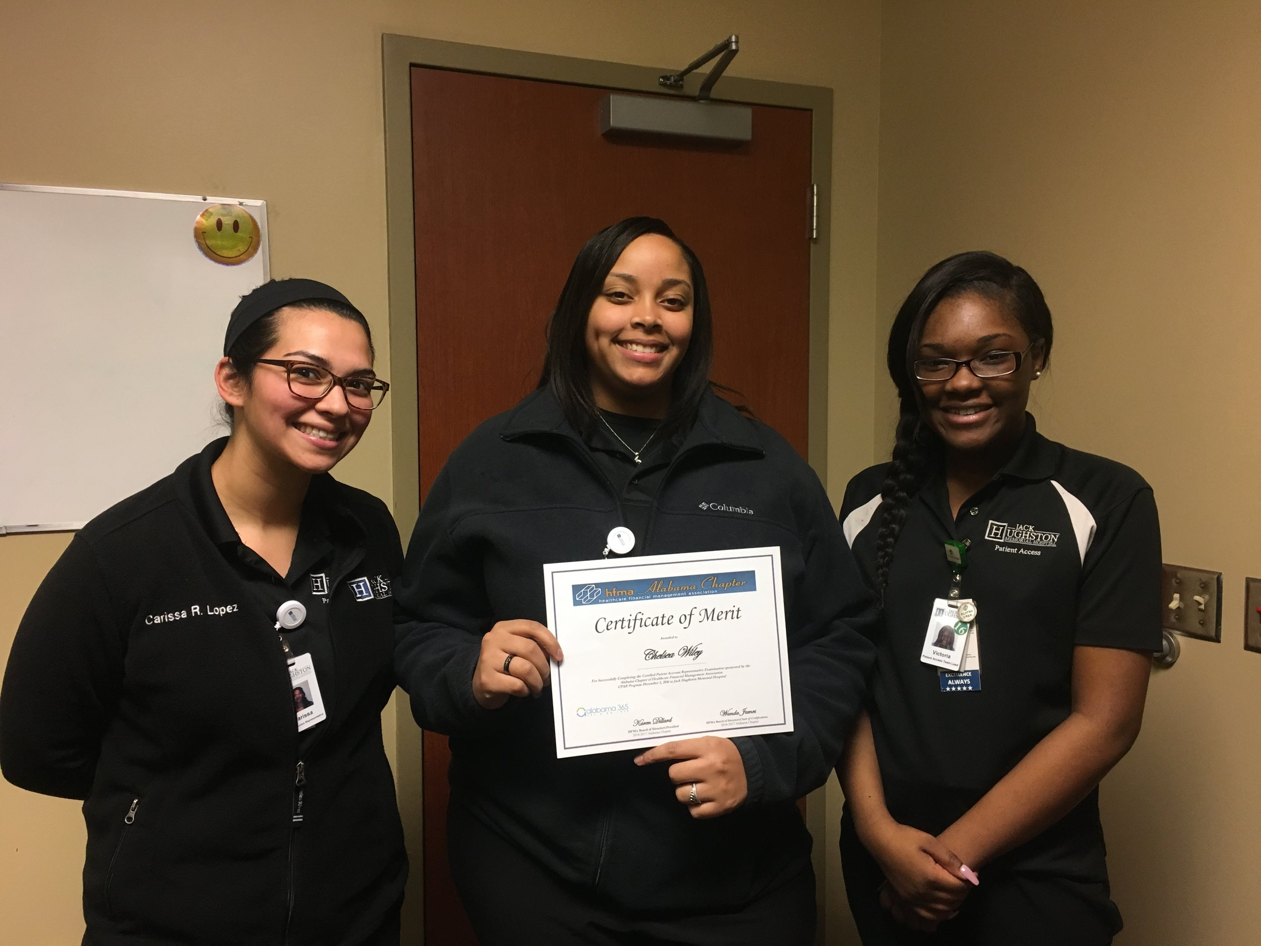 Carissa Ramos-Lopez, Chelsea Wiley, Victoria Dozier earned their CPAR at the Phenix City testing site in December