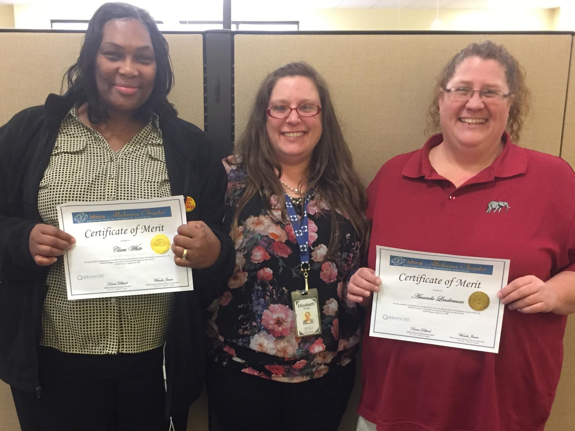 Medco ladies that passed the exam in 2016 in Huntsville.  (L to R) Clara White, Beth Murphy, Amanda Lenderman.