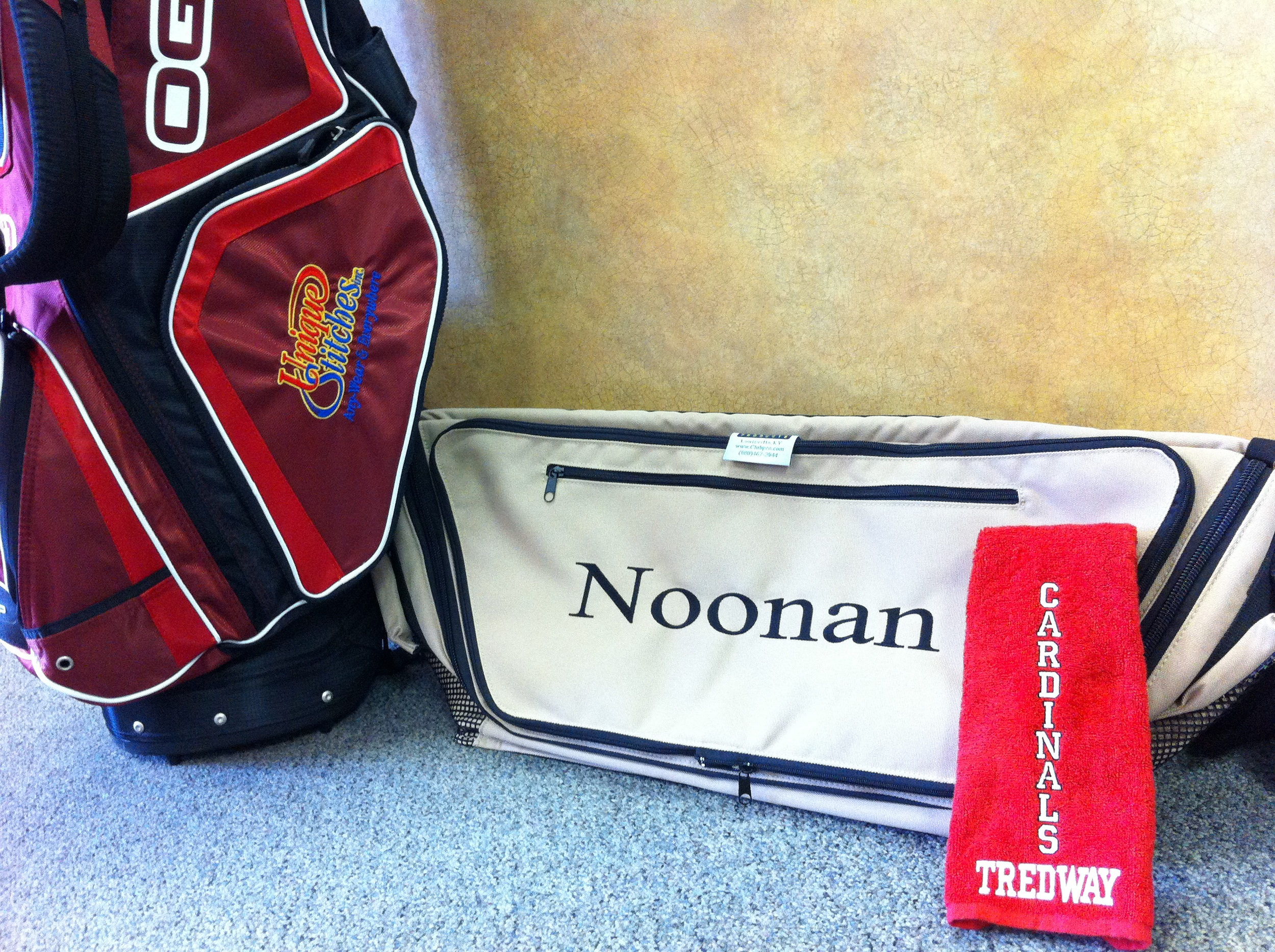 Golf bag, cart bag and towel