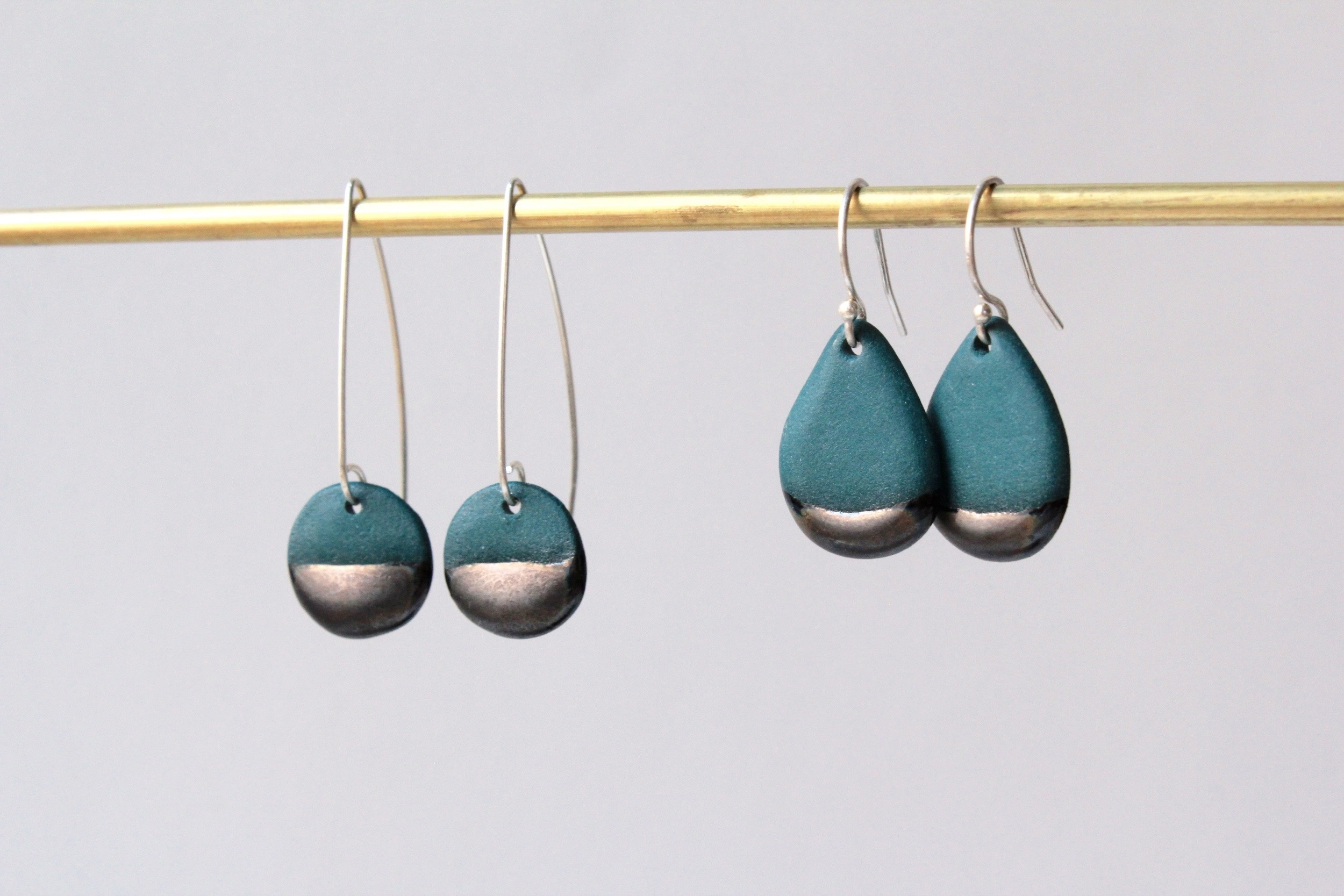 Circle Earring/Teardrop Earring in Teal