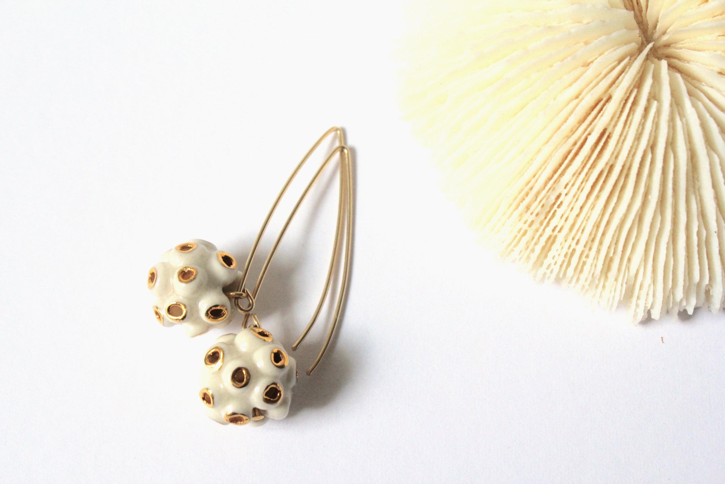 Coral White Earrings