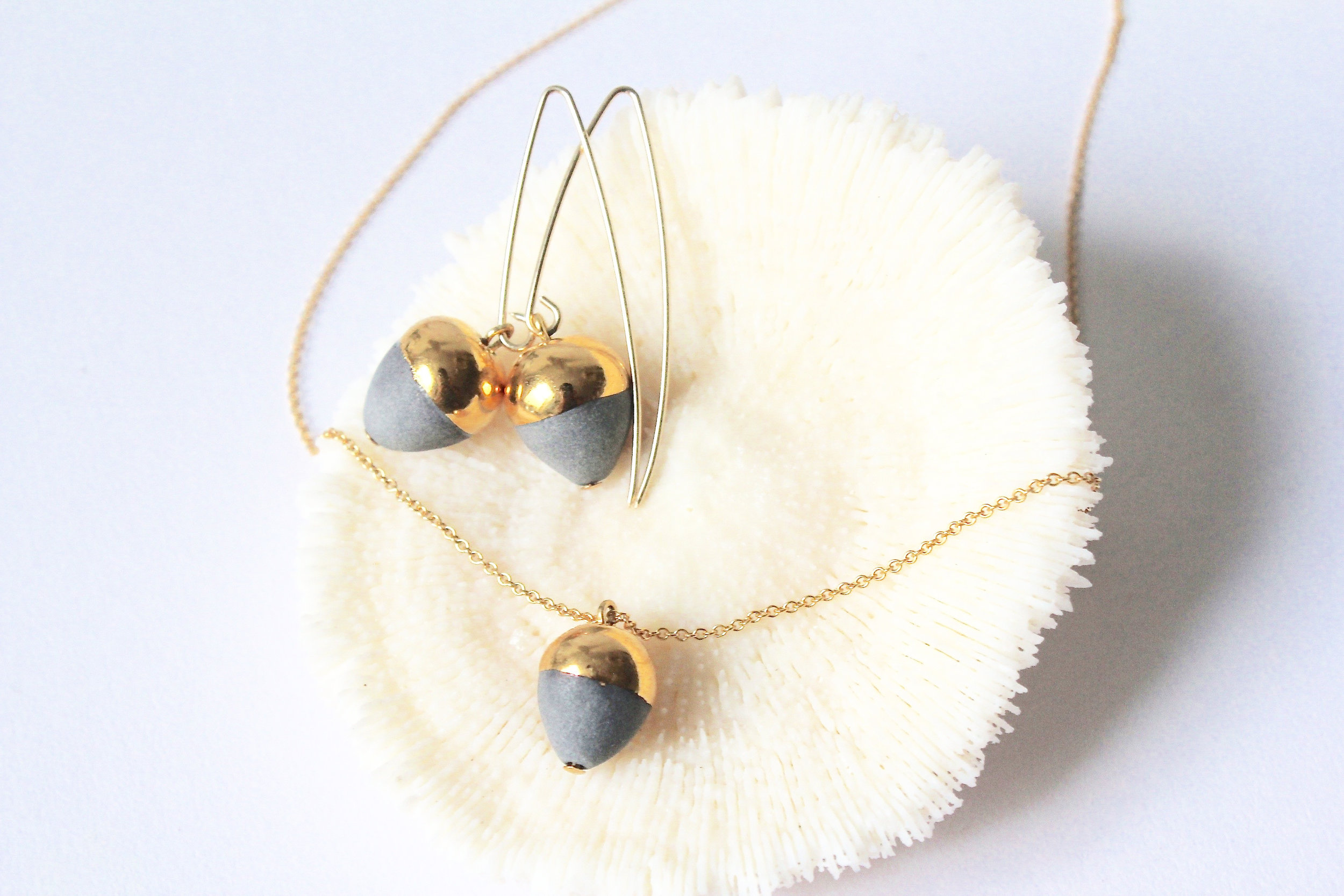 Gold Dipped Acorn Collection in Grey