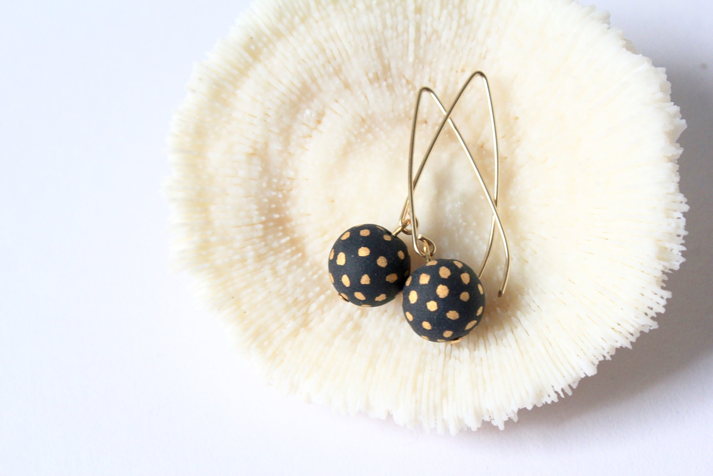 Ladybug Black Matte Earrings