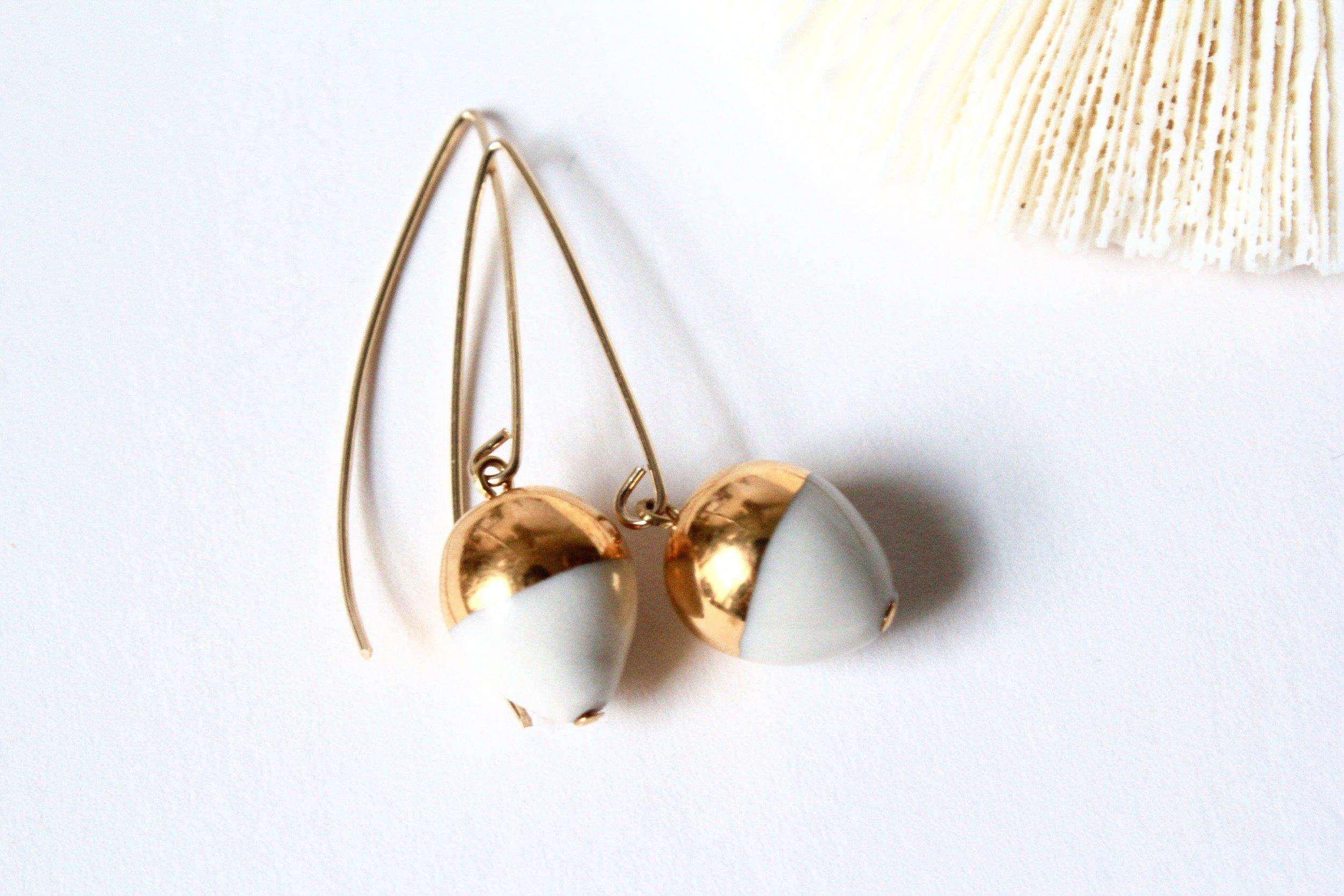Gold Dipped Acorn White Earrings