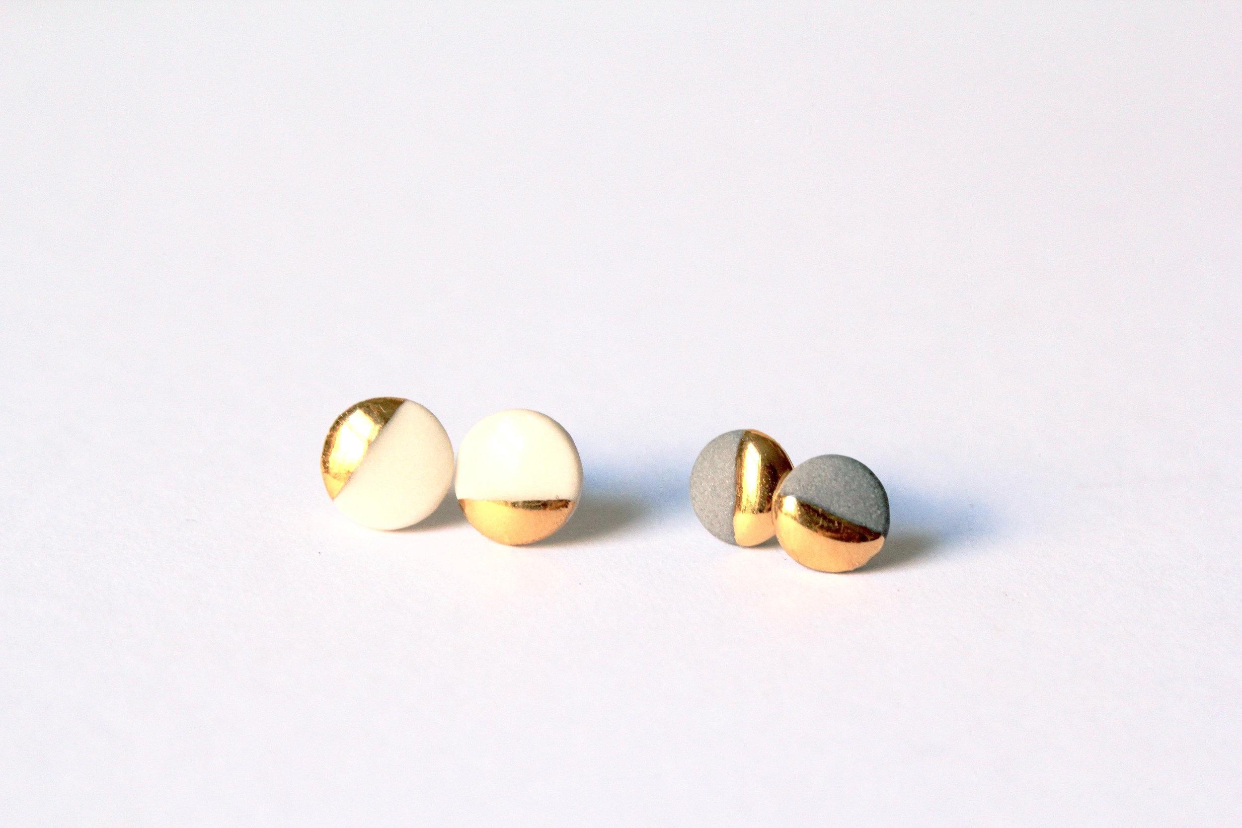 Gold Dipped Flat Circle Studs