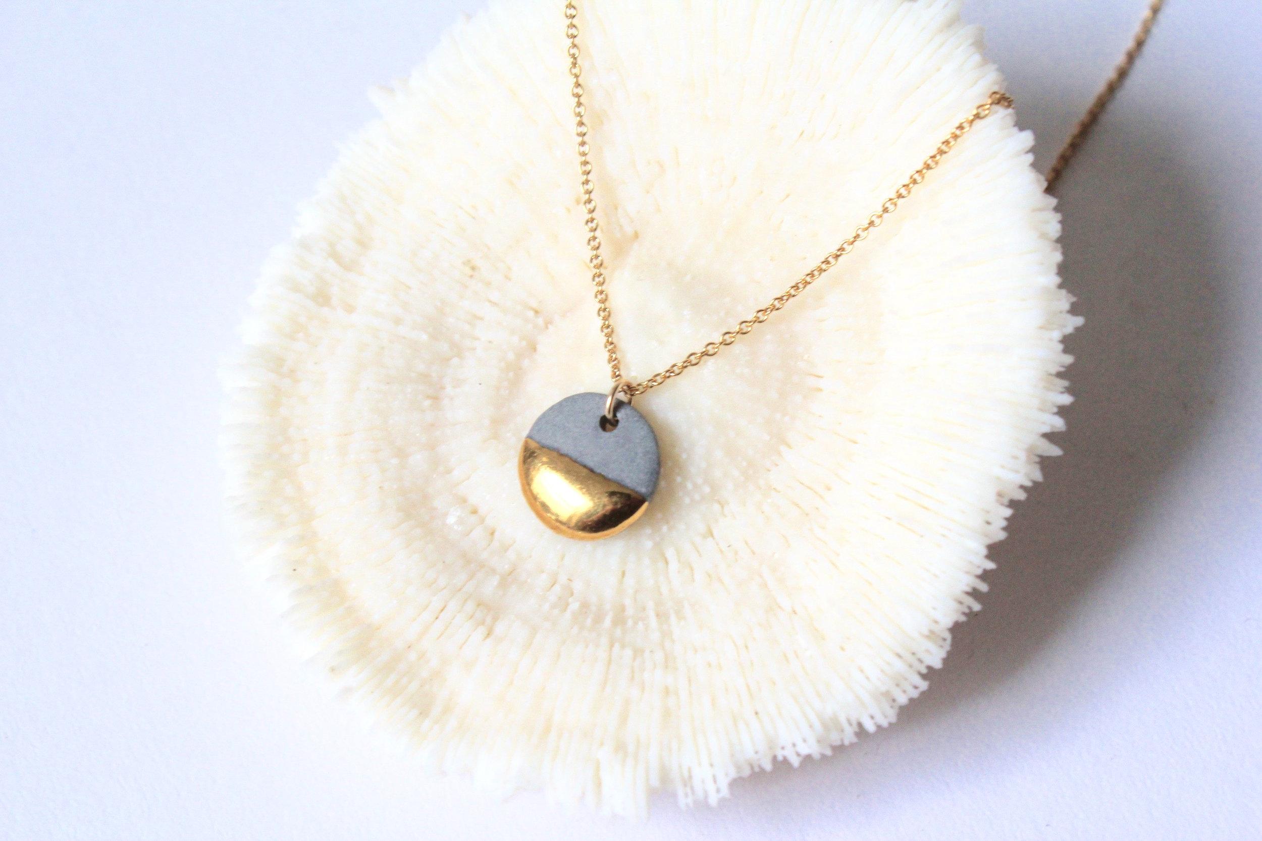 Gold Dipped Flat Circle Grey Necklace