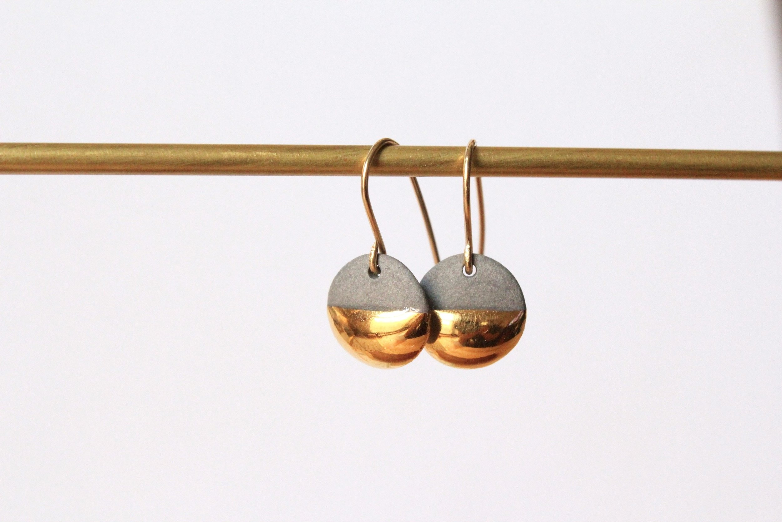 Gold Dipped Flat Circle Grey Earrings