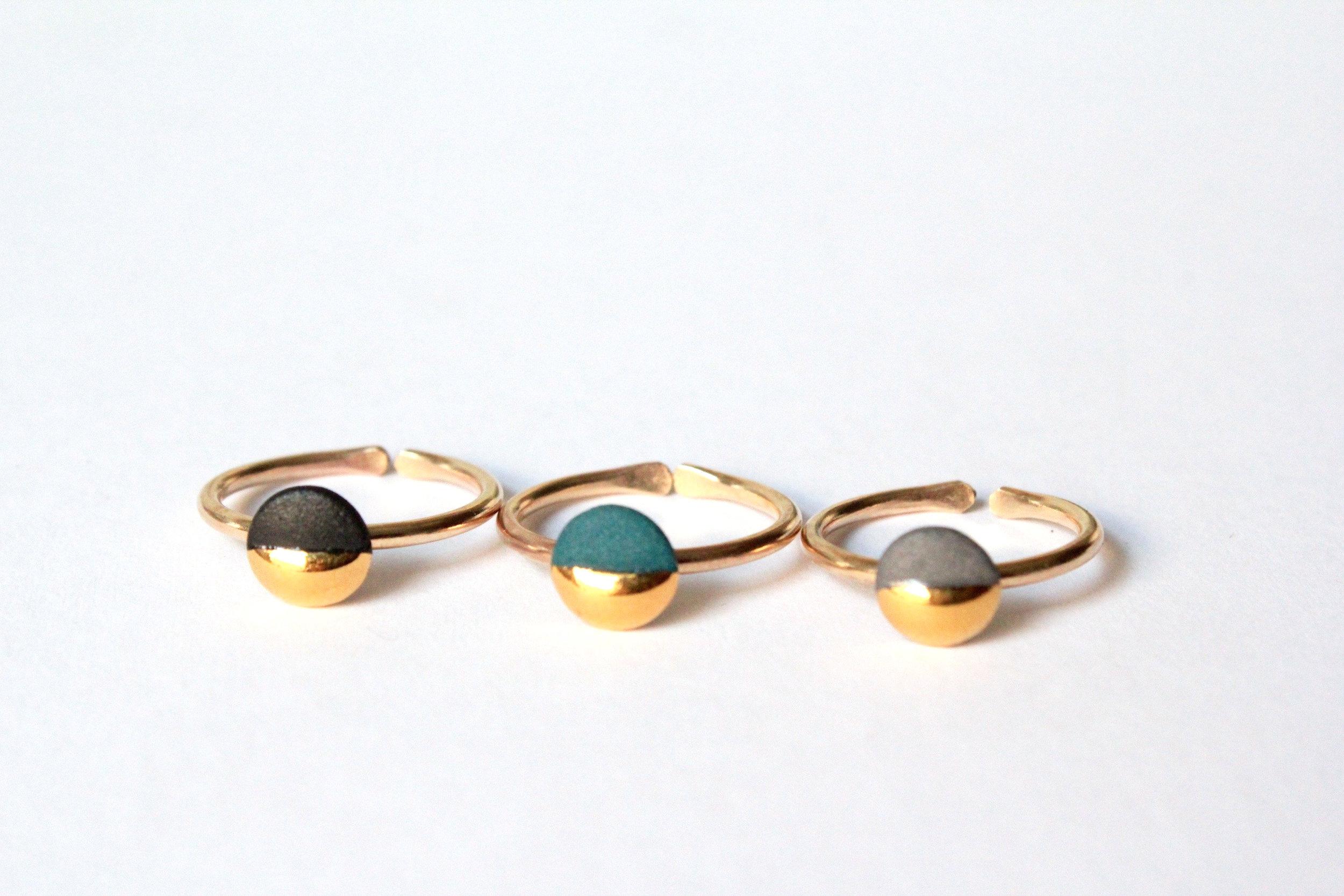 Gold Dipped Flat Circle Rings